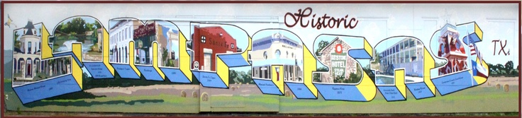 """2010 """"Postcard from Lampasas"""" mural 6th and Western Street Lampasas, TX. Painted by Vision Lampasas volunteers it depicts local landmarks and our local sculpture garden."""