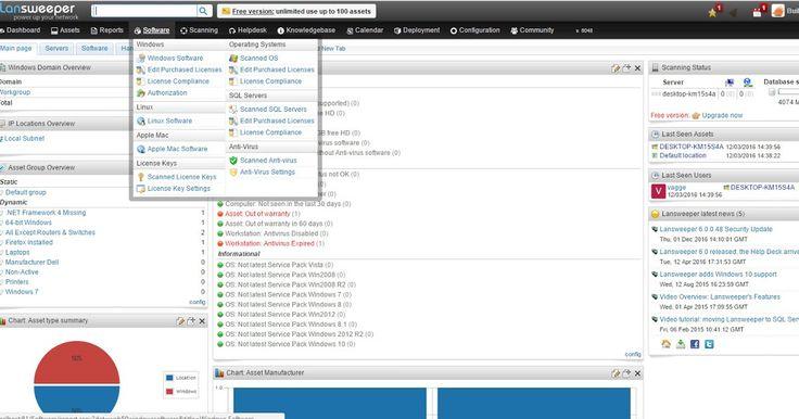 Το Lansweeper είναι ένα δικτυακό εργαλείο που πραγματοποιεί αυτοματοποιημένη απογραφή του δικτύου σαρώνοντας όλους τους υπολογιστές και τις συσκευές σας και εμφανίζοντας τα αποτελέσματα σε ένα απλό web interface. Με το Lansweeper επίσης είναι εύκολο να παρακολουθήσετε και να ελέγξετε όλο το εγκατεστημένο λογισμικό να δημιουργήσετε τις κατάλληλες αναφορές απογραφής λογισμικού για να μάθετε ποια εφαρμογή είναι εγκατεστημένη στον υπολογιστή που ελέγχετε να μάθετε ποιος τρέχει το λογισμικό αυτό…