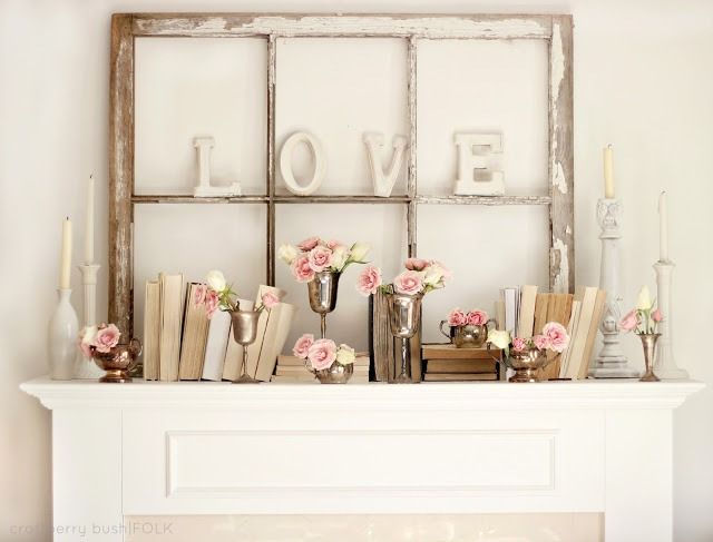 everyday mantel ideas   ... roundup of Valentine's ideas . Her V-day mantel decor is so pretty