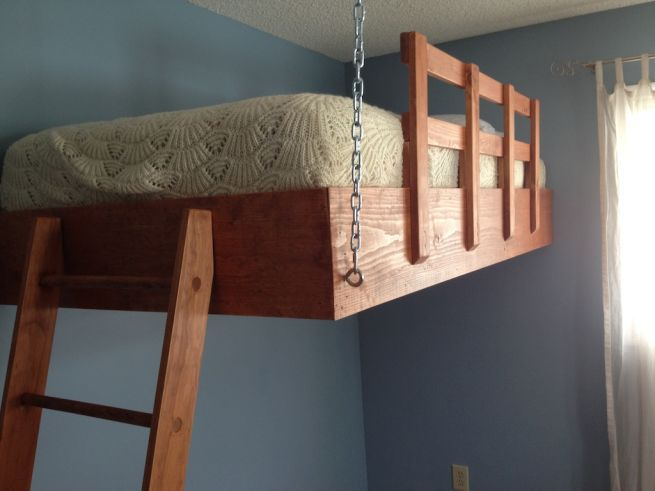 80 best images about bunk beds on pinterest teenage for Suspended bed plans