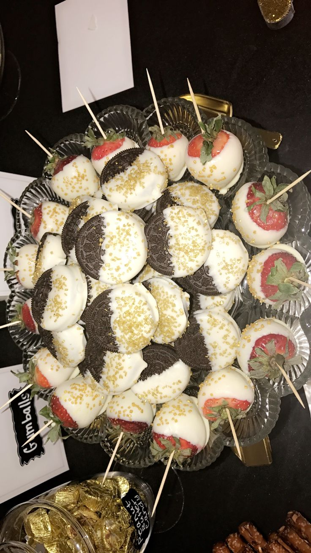 White chocolate covered Oreos and Strawberries