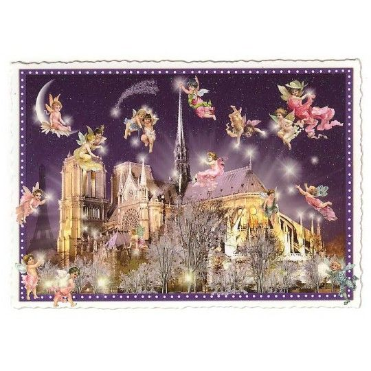 Notre Dame at Night Large Paris Postcard ~ Germany