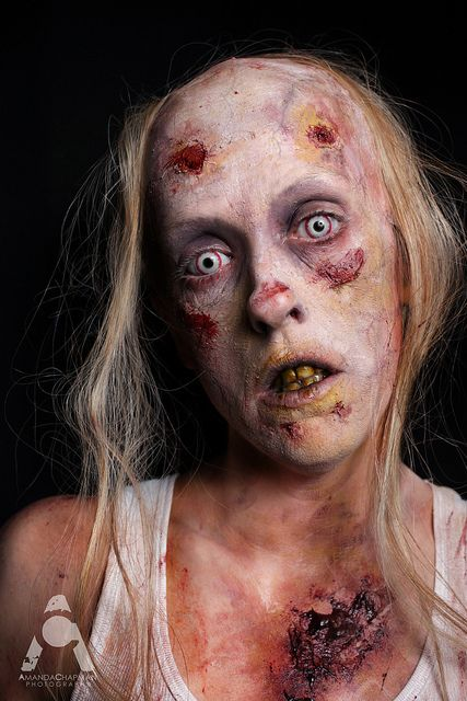 Halloween makeup ZOMBIE by Amanda Chapman ~ https://www.facebook.com/amandachapmanphotography / Pair with some A freaky Monster Special Effects peek from Blanche Macdonald / Pair with some red & blue exorcism style contacts ~ http://www.pinterest.com/pin/350717889705974460/