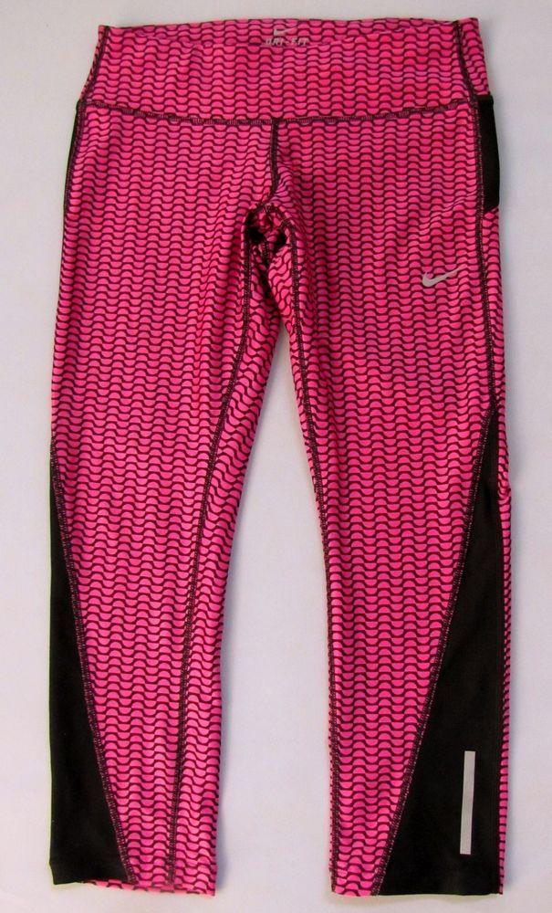 half off 16c3f 2b0b6 Nike Women Dri Fit Racer Capri Tight Crop Pant Leggings Printed Running Sz  Small  Nike  ActivewearLeggings