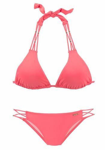 #BRUNO #BANANI #Damen #Triangel #Bikini #pink Im trendigen Edel-Look mit goldfarbenen Zierperlen. Mit Zierperlen an den Trägern des Tops und den seitlichen Bändern der Hose. Regulierbares Top mit herausnehmbaren Cups. Hose in Hummer ganz, in Stein vorn gefüttert. Softe Microfaser.