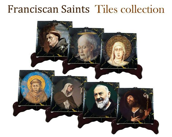 A new wonderful tiles collection is available now in my Etsy Store - Franciscan Saints: >>> https://www.etsy.com/listing/541752459 <<<  7 ceramic tiles (each tile is available in two different sizes): 1. St Francis of Assisi 2. St Clare of Assisi 3. St Anthony of Padua 4. St Roch of Montpellier 5. St Pio from Pietrelcina 6. St Bernardino da Siena 7. St. Margherita da Cortona  100% handmade in Italy by @TerryTiles2014  #stfrancis #stanthony #franciscan #friars #saintfrancis #catholic #saints…