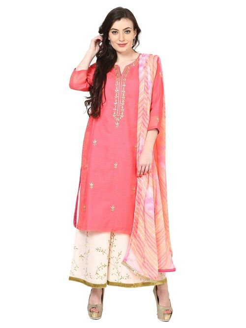 Buy Online Pink Poly Cotton Straight Suit Set for Women & Girls at Best Prices in Biba India-SKD5078