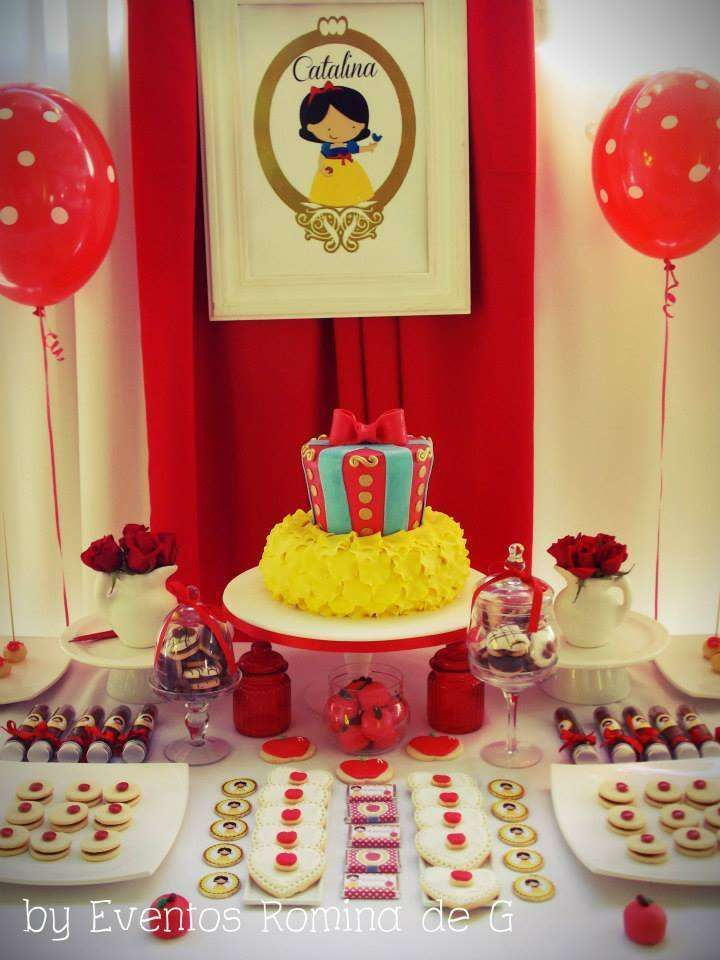 Snow White Birthday Party dessert table and backdrop! See more party planning ideas at CatchMyParty.com!