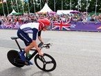 Bradley Wiggins of Great Britain in action during the men's Individual Time Trial