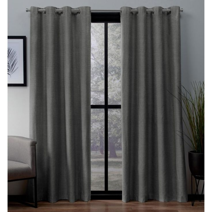 Amalgamated Textiles London 52 in. W x 63 in. L Woven Blackout Grommet Top Curtain Panel in Peacoat Blue (2 Panels)