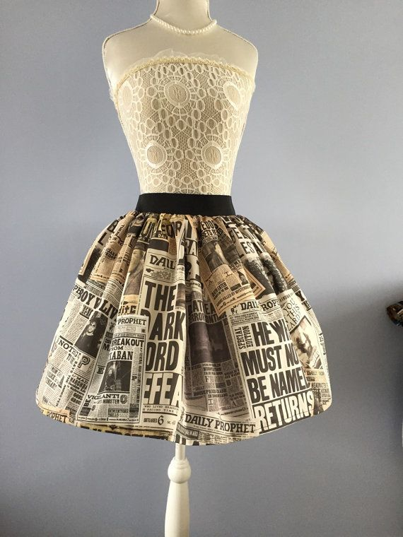 Daily Phophet Harry Potter inspired full skirt by PicknMix on Etsy
