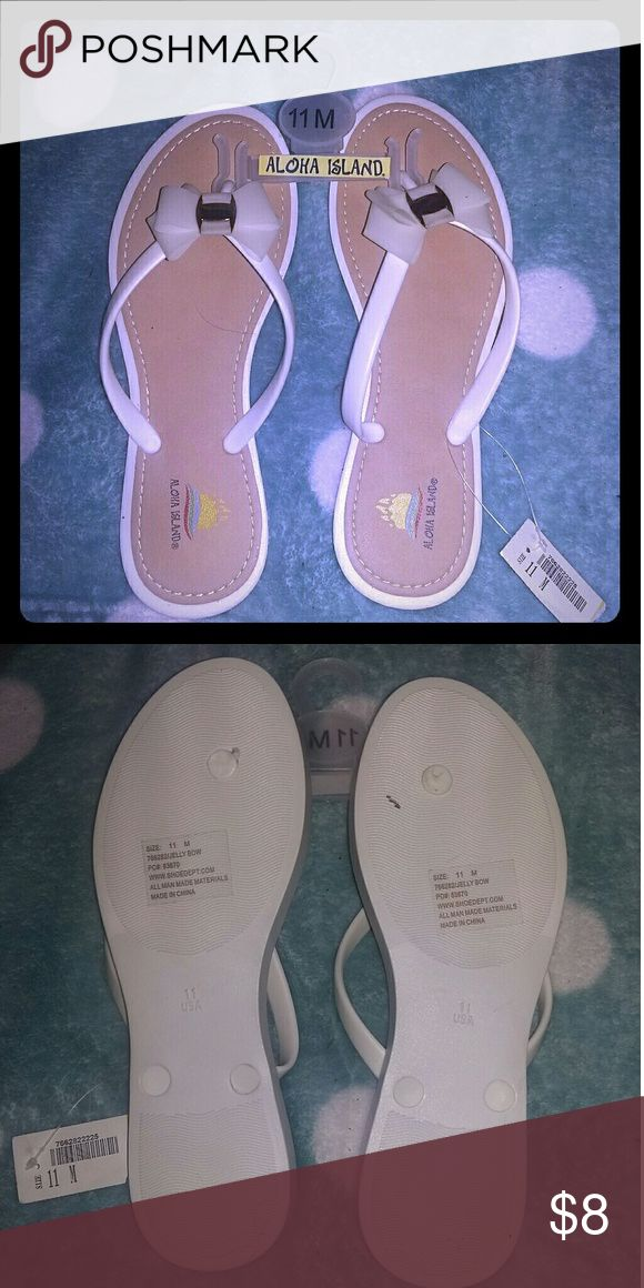 White bow flip flops White Bow flip flops. Size 11m.NWT. Aloha Island Shoes Sandals