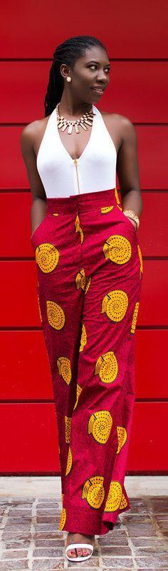 Ankara Wide Leg Pants / Fashion By Prissyville~ African fashion, Ankara, kitenge, Kente, African prints, Braids, Asoebi, Gele, Nigerian wedding, Ghanaian fashion, African wedding ~DKK #Africanfashion