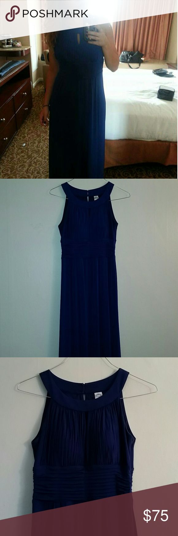 """Evening Gown Dark corn blue evening dress. Falls straight down. Scrunched horizontally at the waist, vertically across the breasts with a small keyhole in the middle. Thin padding so no need for a bra. Zipper on right side, two buttons on the back of neckline to close. Worn a few times but no rips, tears or stains. I'm 5'3"""" and typically wear 6"""" heels with the dress. (Added two stock photos to show design better. My dress is blue.) Sangria Dresses Wedding"""