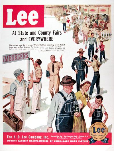 1950 Lee Jeans Work Clothes original vintage advertisement. At State and County fairs everywhere more men and boys wear work clothes bearing a Lee label than any other brand. Union Made Lee. Highest Quality Work Clothes.