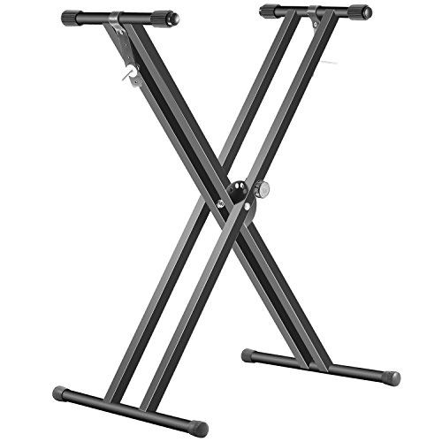 """Neewer Black Folding Solid Iron Double-Braced X-Style Keyboard Stand with Locking Straps and 5-Position Disk Clutch for Easy Height and Width Adjustment  Double-braced X-style keyboard stand, suitable for 61-key, 76-key and 88-key keyboards. NOTE: Keyboard NOT INCLUDED  Built with 1-inch solid iron tubings with non-slip rubber end caps  5-Position disk clutch for quick height and width adjustments  Adjustable height: 24""""-38"""" / 62cm-96cm  Folds flat for easy storage and transport"""