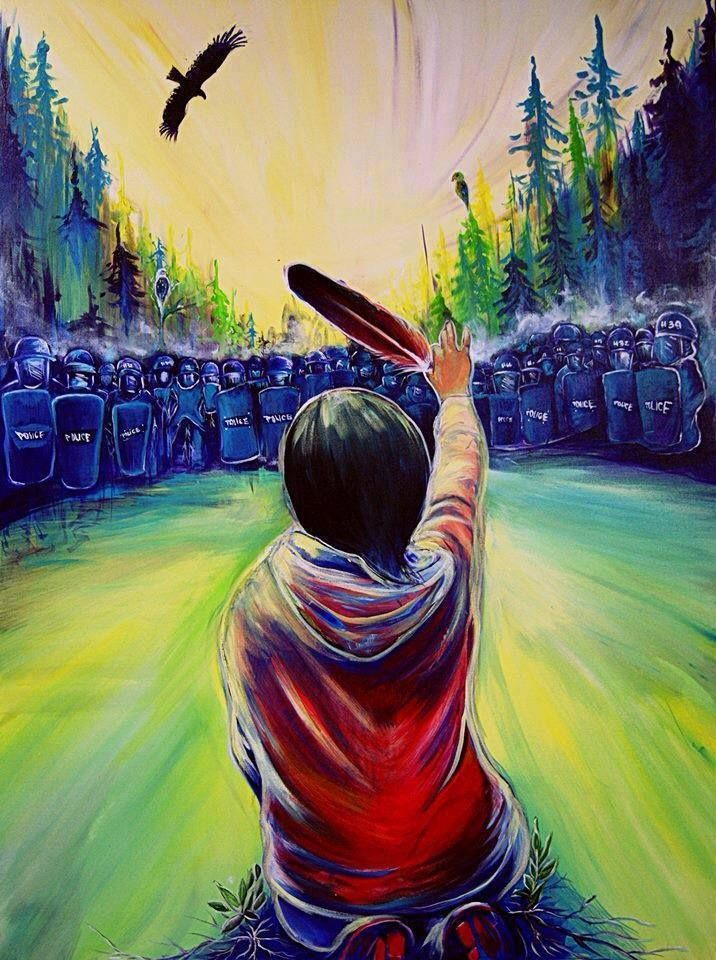 """""""When birds fall from the sky and the animals are dying, a new tribe of people shall come unto the Earth from many colors, classes, creeds, who by their actions and deeds shall make the Earth green again. They will be known as the Warriors of the Rainbow."""" —Hopi ProphecyPainting by Fanny Aishaa entitled """"Wisp of Hope."""" Aishaa based her painting on the Ossie Michelin, ATPN National News, photograph of Amanda Polshies protesting fracking on tribal lands.http://bit.ly/1a5PLPi"""