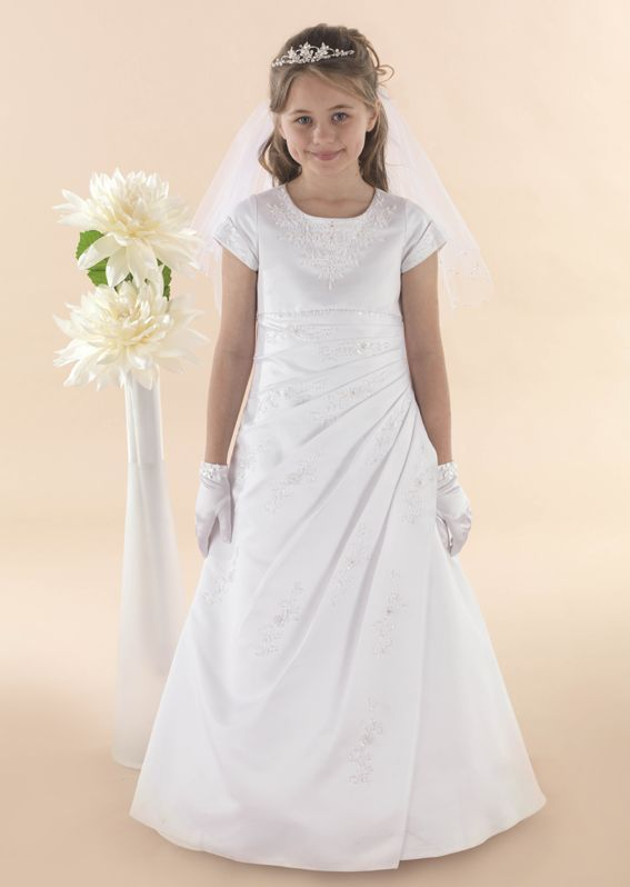 Beaded Satin Communion Dress Esme