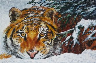 Winter time tiger, 100x150 cm, oil on canvas