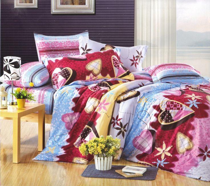 Modro ružová obliečka na posteľ s rôznymi motívmi