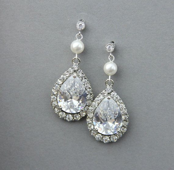 Bridal pear drop earrings, Wedding crystal  pearl earrings ,wedding jewelry , vintage wedding jewelry- Style 546