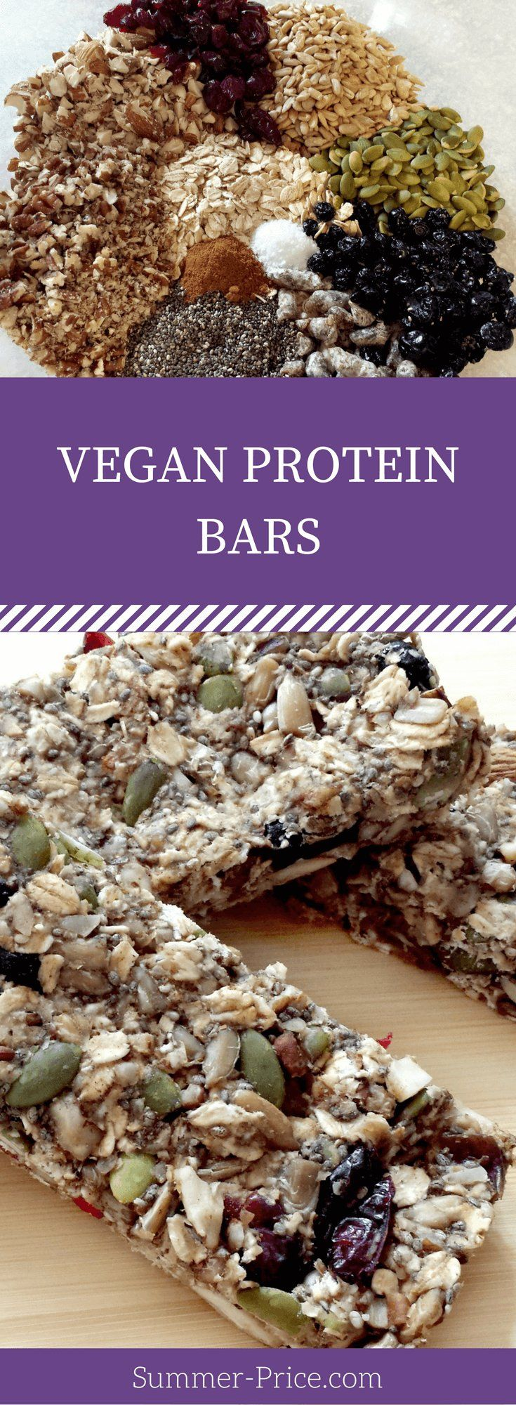The Best Homemade DIY Vegan Protein Bars recipe. They are easy, simple, healthy, clean eating, sugar free, low fat & gluten-free. via @summerprice1