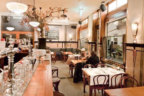 http://www.daalderamsterdam.nl/en/ Restaurant Daalder at the Lindengracht. A true gem! Brown Cafe turned into exquisite restaurant.