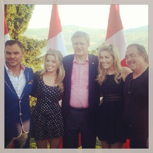 One More Girl with booking agent Jim Cressman, Prime Minister Stephen Harper, and dad Tom McKillip after performing for the Prime Minister in Kelowna, British Columbia, on September 13, 2013
