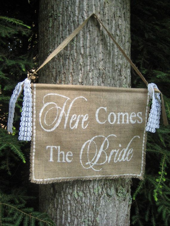 Burlap Here Comes The Bride Banner Rustic Wedding Sign 2295 Via Etsy