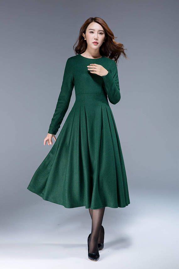 78aca356ab7 Green dress, wool dress, midi dress, pleated dress, fit and flare dress, winter  dress, elegant dress, womens dresses, plus size dress 1811 in 2019 |  Fashion ...