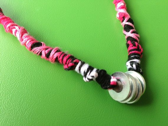 Embroidery thread wrapped necklace with washers on Etsy, $15.00 CAD