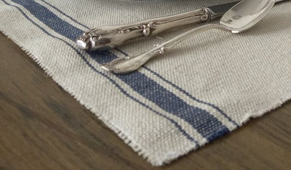 Placemats farmhouse grain sack fabric french farmhouse blue