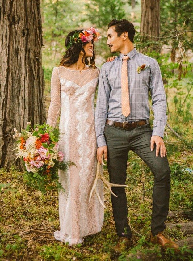 In sweet polka dots and lace. | 36 Of The Most Effortlessly Beautiful Boho Wedding Dresses Ever