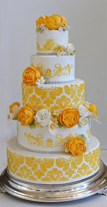 Indian Weddings Inspirations. Yellow wedding cake. Repinned by #indianweddingsmag indianweddingsmag.com