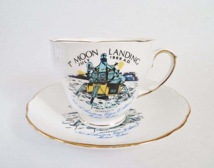 Moon Landing Tea Cup, Vintage Duchess Tea Cup, Moon Landing Commemorative Cup, Apollo 11 Lunar Landing, Neil Armstrong, Richard Nixon by OtterValleyVintage on Etsy