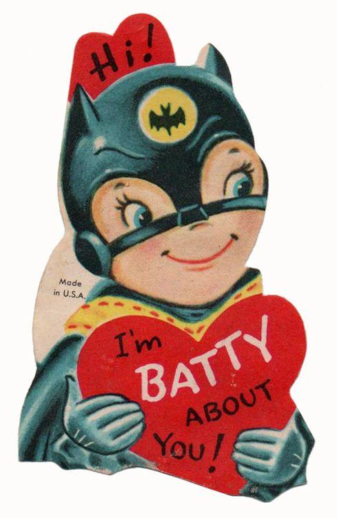 { Vintage Valentine Card / Heart / Retro Valentines / St Valentines Day / Love / Crush / offbeat / fun / unusual / Creepy strange Weird Funny Valentine / batman / batgirl }