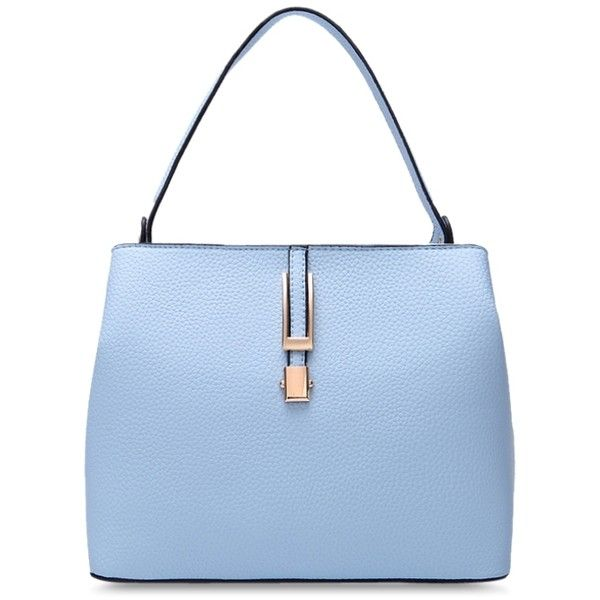 PU Leather Metallic Embossing Tote Bag ($37) ❤ liked on Polyvore featuring bags, handbags, tote bags, metallic handbags, metallic purse, pu leather handbag, embossed purse and blue handbags