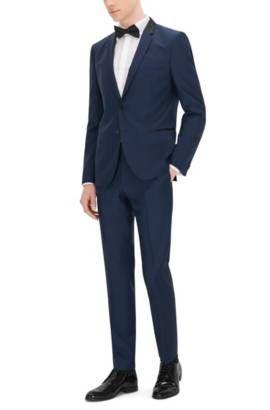 Traje slim fit en sarga de lana exclusiva , Azul oscuro