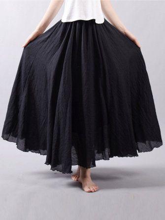 e469ed076113 Women Cotton Elastic Waist Long Maxi Skirts at Banggood US$ 26.99 ...