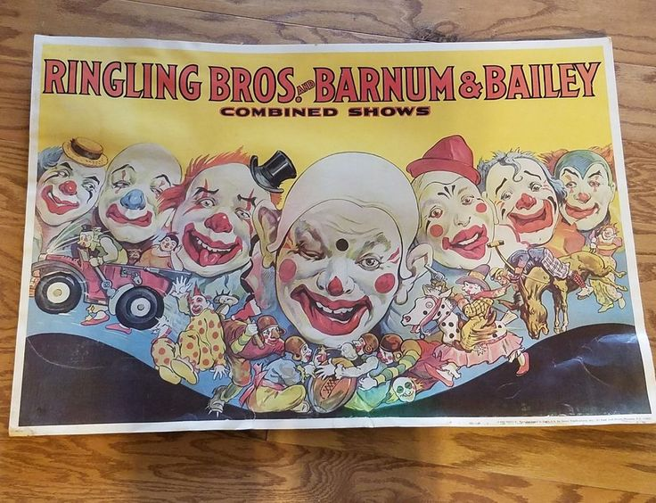 Vintage Ringling Bros Barnum & Bailey Combined  Circus Poster Freaky Clowns | Collectibles, Historical Memorabilia, Fairs, Parks & Architecture | eBay!