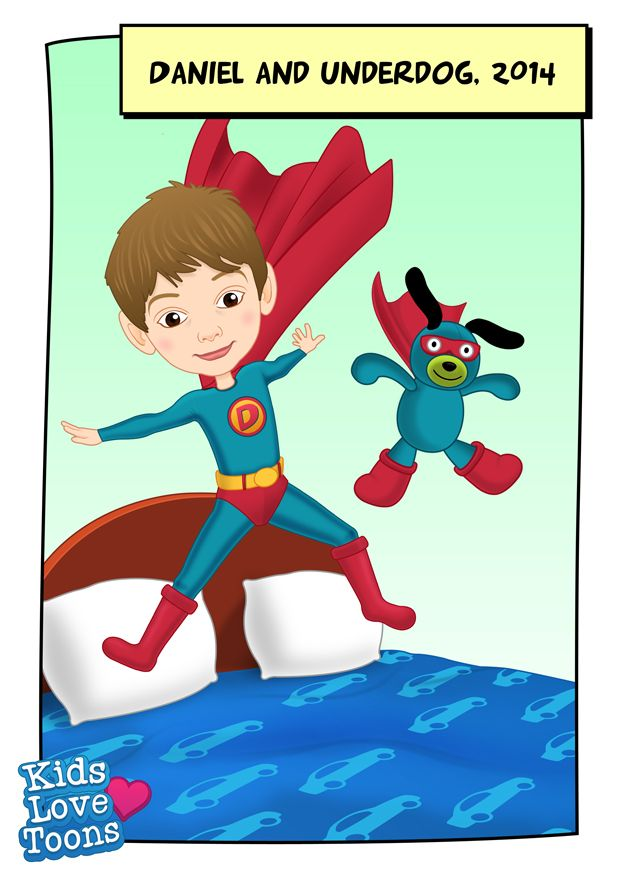 A custom made portrait of Daniel and Underdog doing their favourite activity, jumping on their beds :)  Custom made portrait of your child, their toy and favourite activity is £75 - check out our Etsy store https://www.etsy.com/uk/listing/186212286/custom-kids-portrait-superhero-cartoon?ref=listing-shop-header-0
