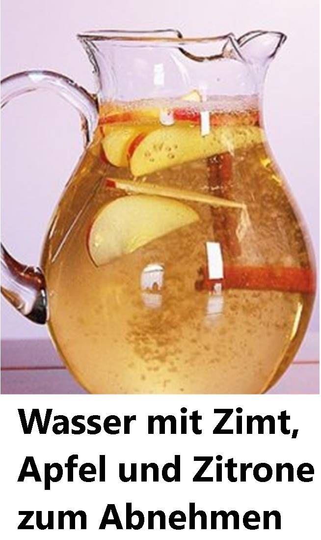 Wasser mit Zimt, Apfel und Zitrone zum Abnehmen   …