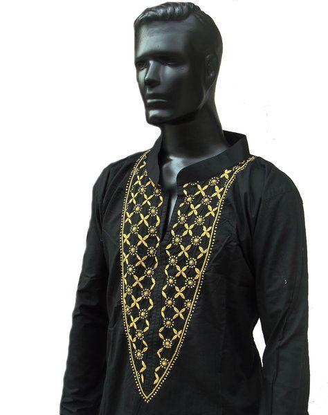 Longsleeved Zwarte tuniek shirt voor mannen van Bhagya Fashions op DaWanda.com