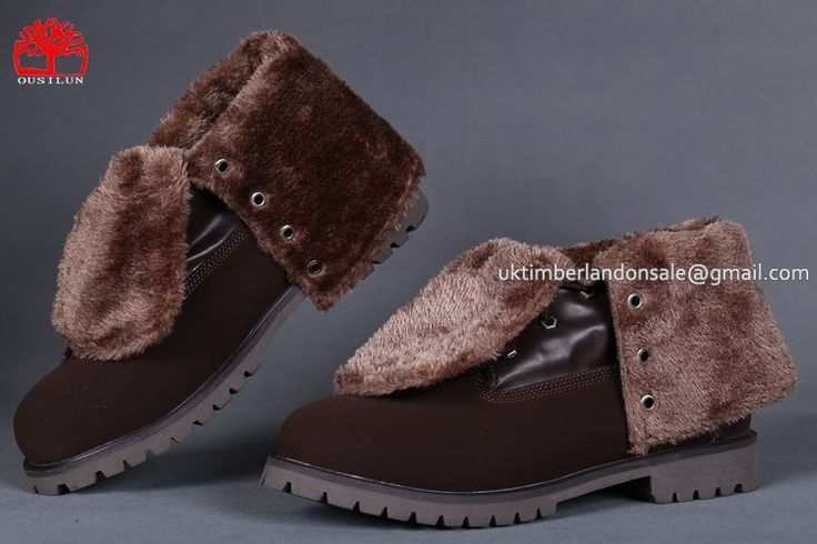 Womens Timberland Roll Top Boots Teddy Fleece Fold-Down Waterproof Brown $ 80.00