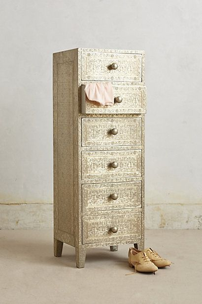 "Intaglio Dresser #anthropologie.  Terrific.  47""H, 16""W, 14""D -- beautiful also as storage in bathroom, hallway, entry, etc."