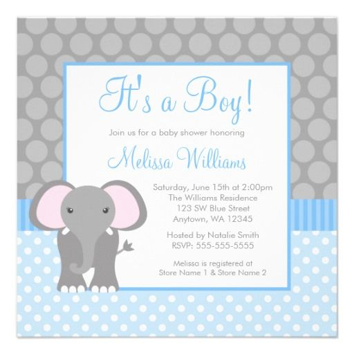 Blue Gray Elephant Polka Dot Boy Baby Shower Custom Invitation - Zazzle.com
