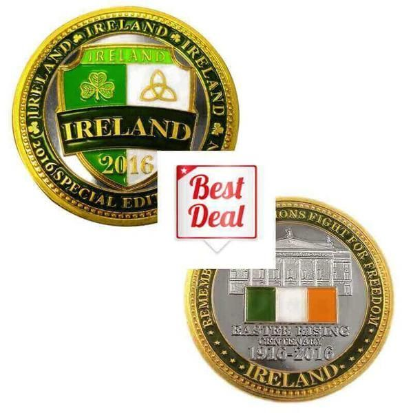 Dated Ireland Shield with Shamrock and Trinity   1916 - 2016 Commemorative Easter Rising coin