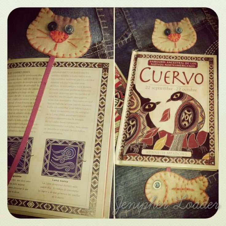 Bookmark gato / cat fieltro felt feltro felting craft diy