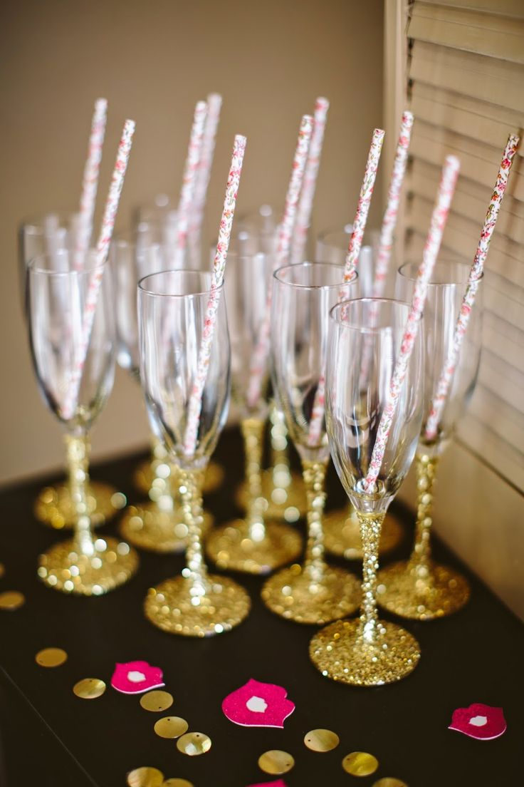 glitter themed party glitter dipped champagne glasses