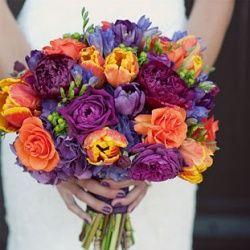 Orange, Purple,  Plum Wedding wedding-flowers